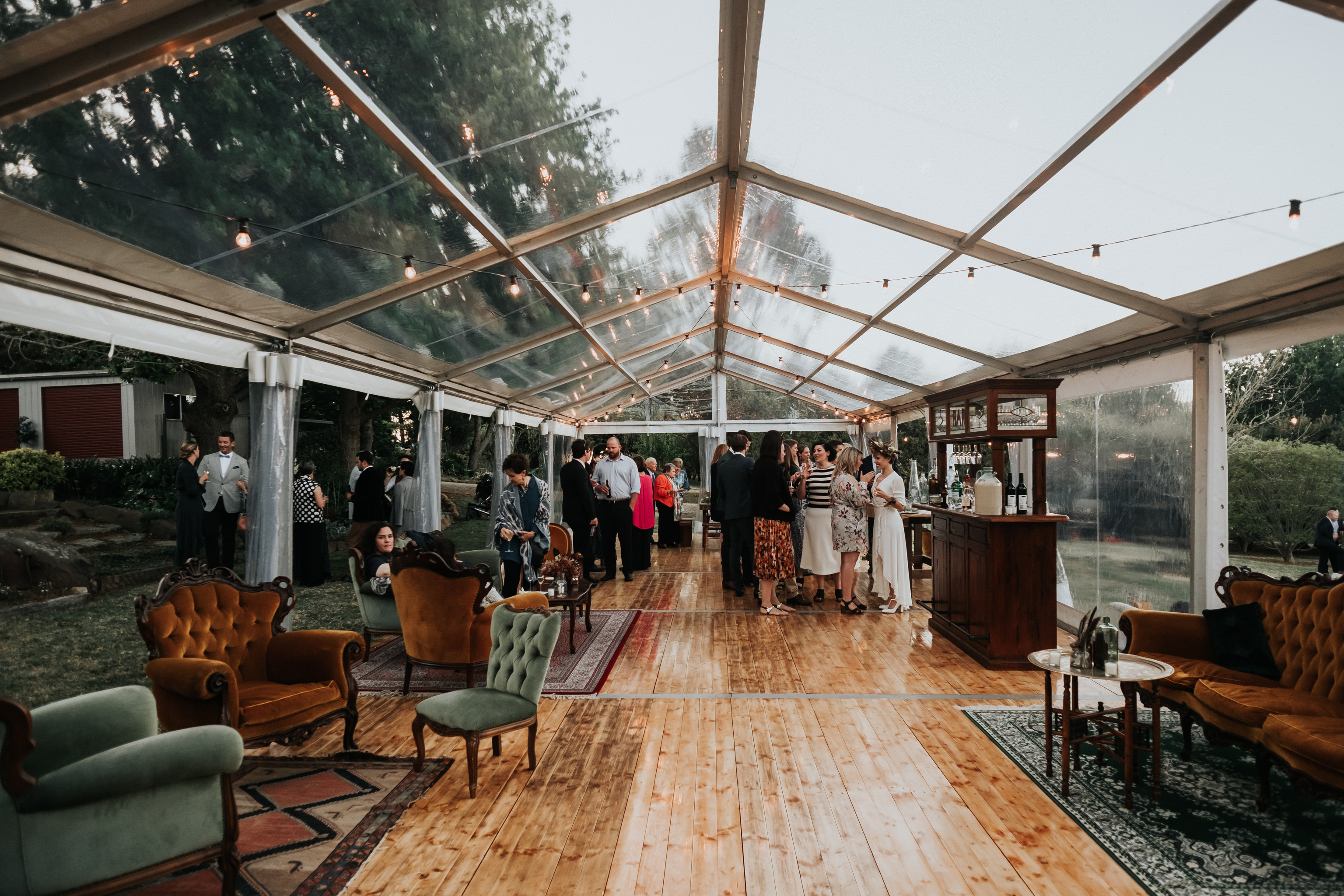 Clear marquee in Sutton Forest with vintage furniture Whimsical Fox Events